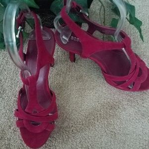 BCBG Fuchsia colored suede heels  size 7.5